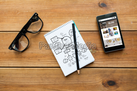 nahaufnahme von notizblock smartphone und brillen