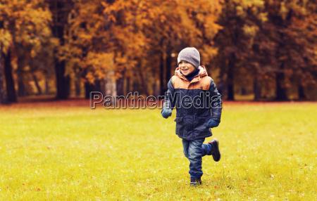 gluecklicher kleiner junge auf herbst park