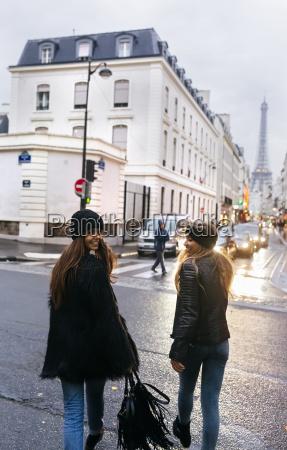 france paris two young women walking