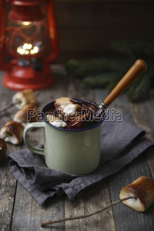 hot chocolate with fire roasted marshmallows