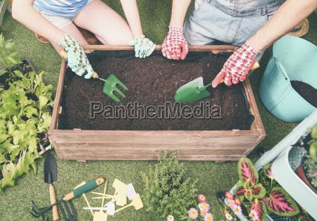 couple preparing soil to plant vegetables