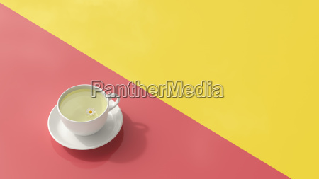 cup of chamomile tea 3d rendering