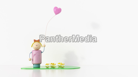 girl figurine holding balloon 3d rendering