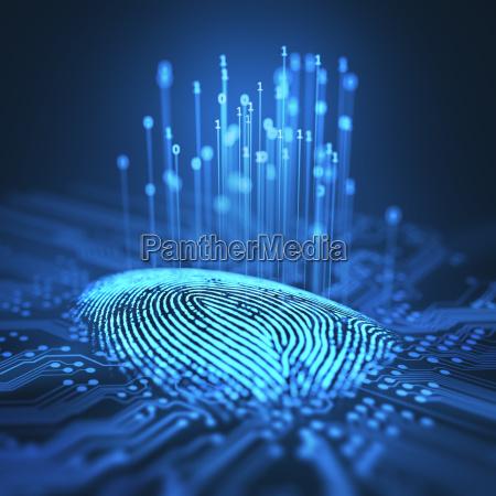 fingerabdruck-binary, microchip - 20198061