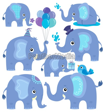 stylized elephants theme set 2