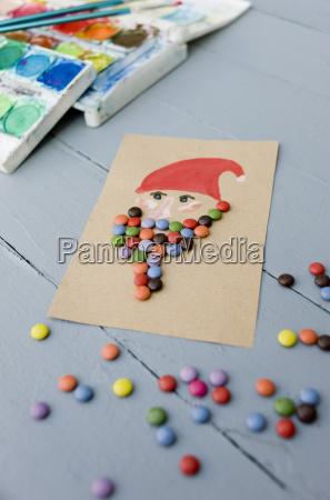 weihnachtskarte von wasserfarben und schokolade tropfen