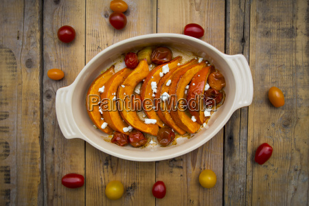 pumpkin gratin with tomato and feta