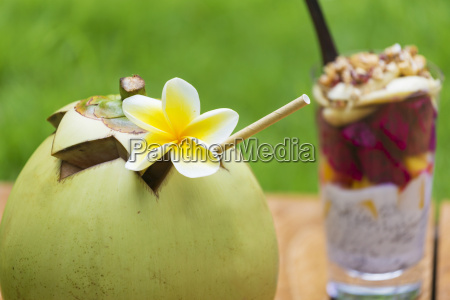 fresh coconut and glass of chia