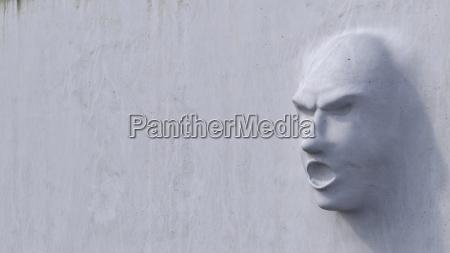 gesicht frust beton mauer illustration idee