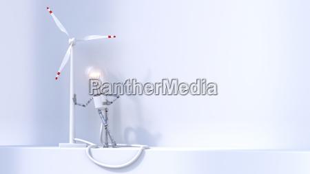 electric bulb manikin leaning on wind