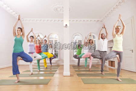 gruppe von menschen in yoga studio