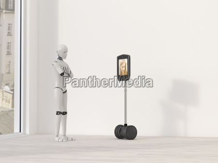 robot at video conference 3d rendering