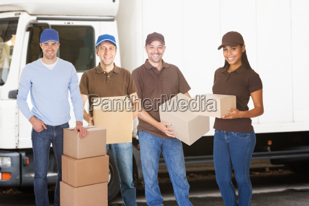 group of delivery people with boxes