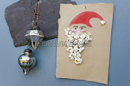 weihnachtskarte aus wasserfarben und popcorn