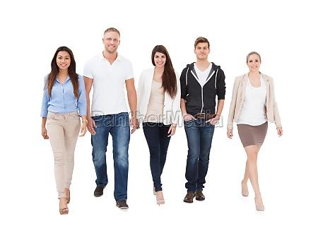 people walking on white background