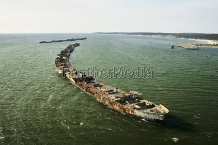 usa aerial photograph of sunken ships