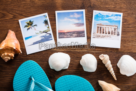 beach vacation concept on wooden desk