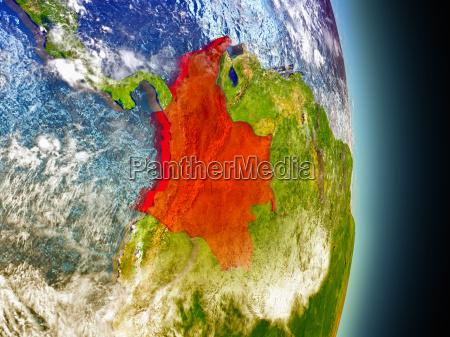 kolumbien in rot aus dem weltraum