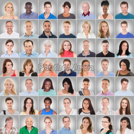 collage of people on gray background