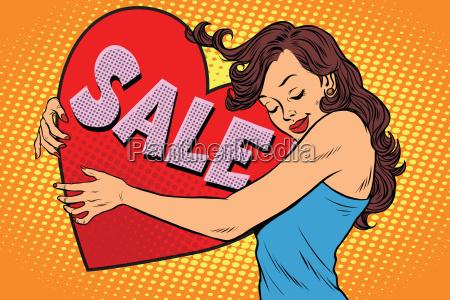 schoene junge frau umarmt verkauf valentine