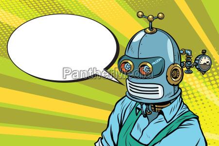 roboter arbeiter in schuerze sagt die