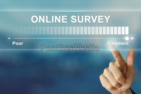 business hand clicking excellent online survey