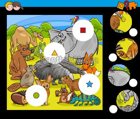 animals match pieces game