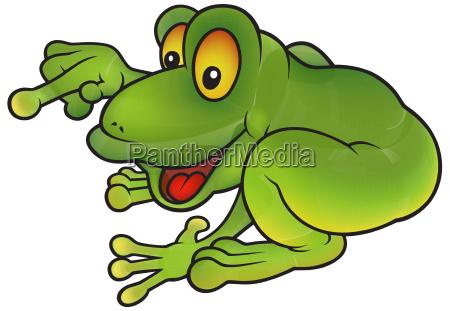 sitting green frog