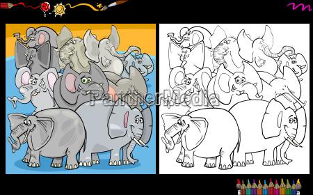 cartoon elephants coloring page