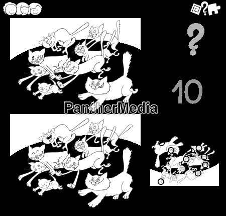 cat difference game coloring page