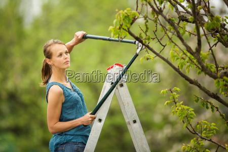 bella giovane donna giardinaggio nel suo