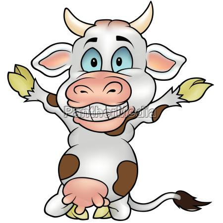 glueckliche kuh mit den haenden oben