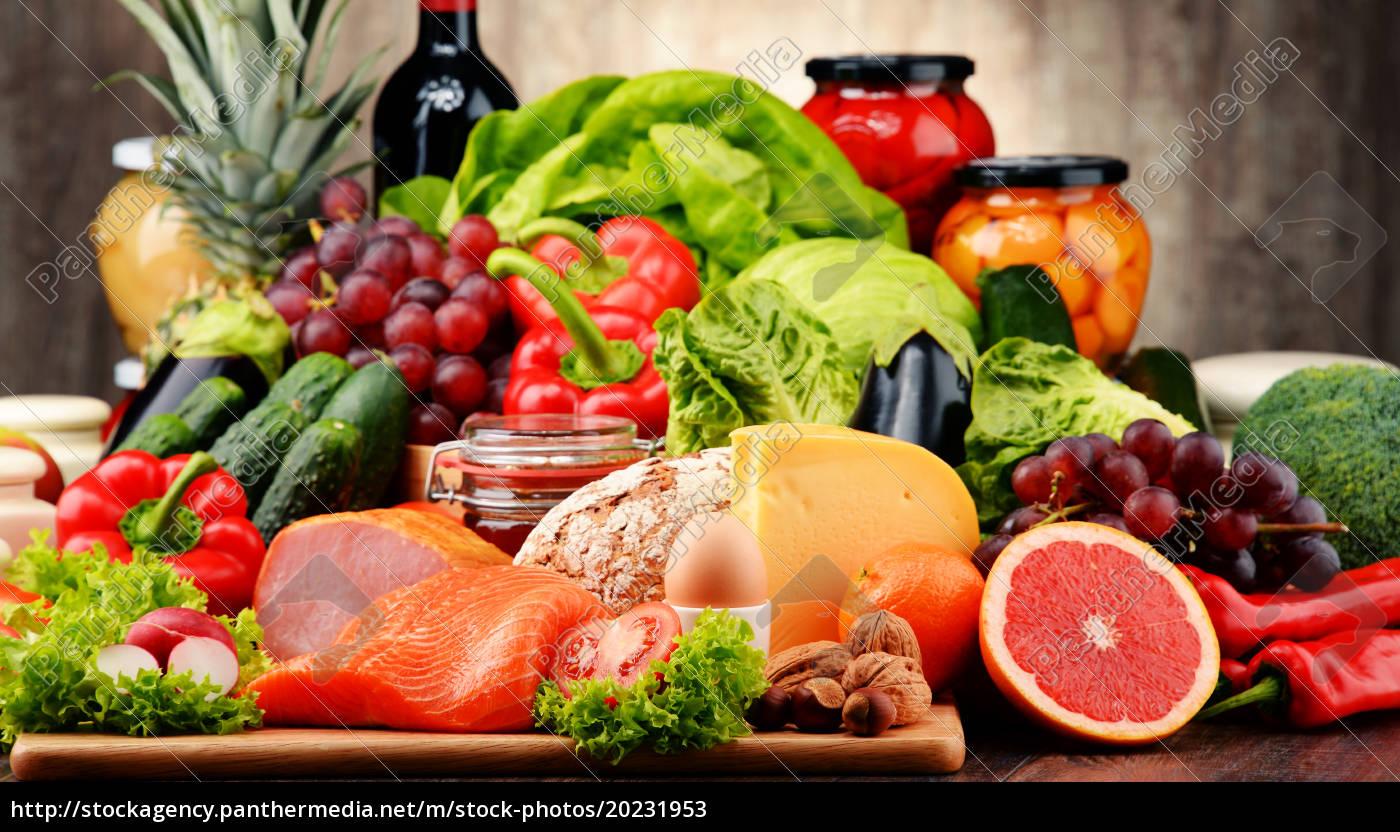 bio-lebensmittel, wie, gemüse, obst, brot, milchprodukte, und, fleisch - 20231953