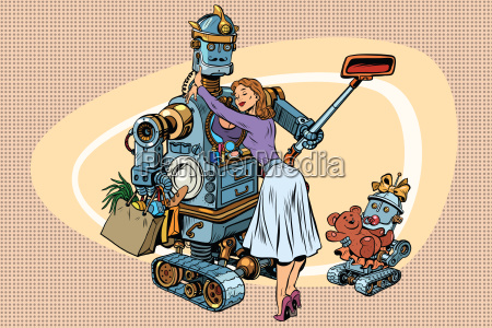 vintage retro family dad robot wife