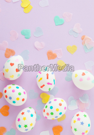 colorful easter eggs with hearts