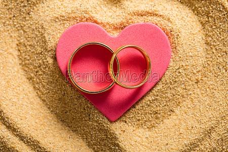 an wedding rings on a heart