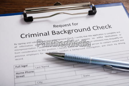criminal background check application form with