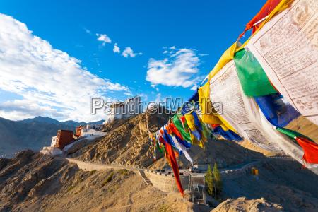 leh tsemo fort gompa prayer flags