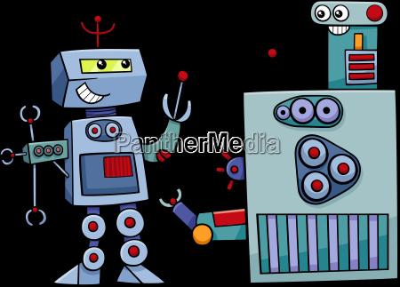 robot characters cartoon illustration