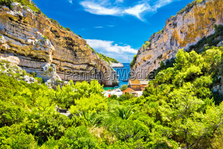 scenic beach of croatia on vis