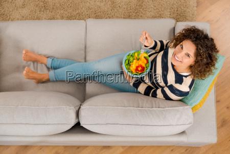 beautiful healthy woman at home