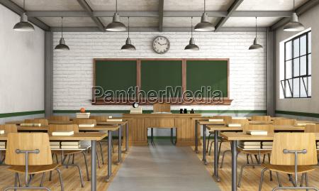 vintage klassenzimmer ohne schueler