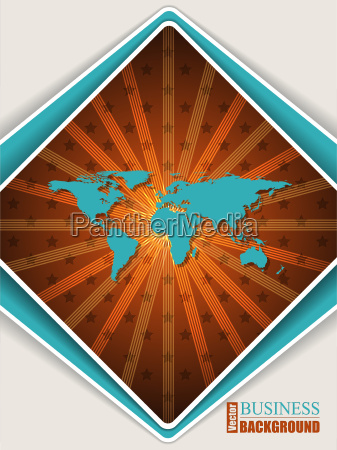 abstract orange turquoise brochure with world