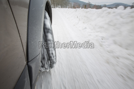 car with winter tires on a