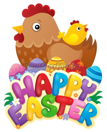 happy easter sign with hen and