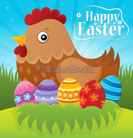 happy easter theme with hen and