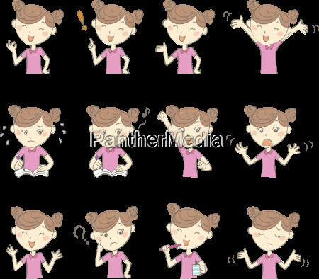 young girl with various poses and