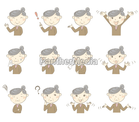 senior lady with various poses and