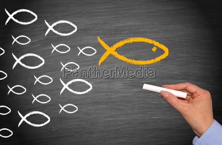 leadership und followers fische konzept