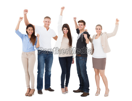 people raising hand over white background